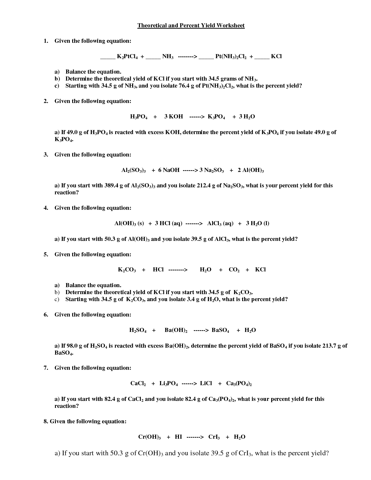 Percent Yield Worksheet With Answers