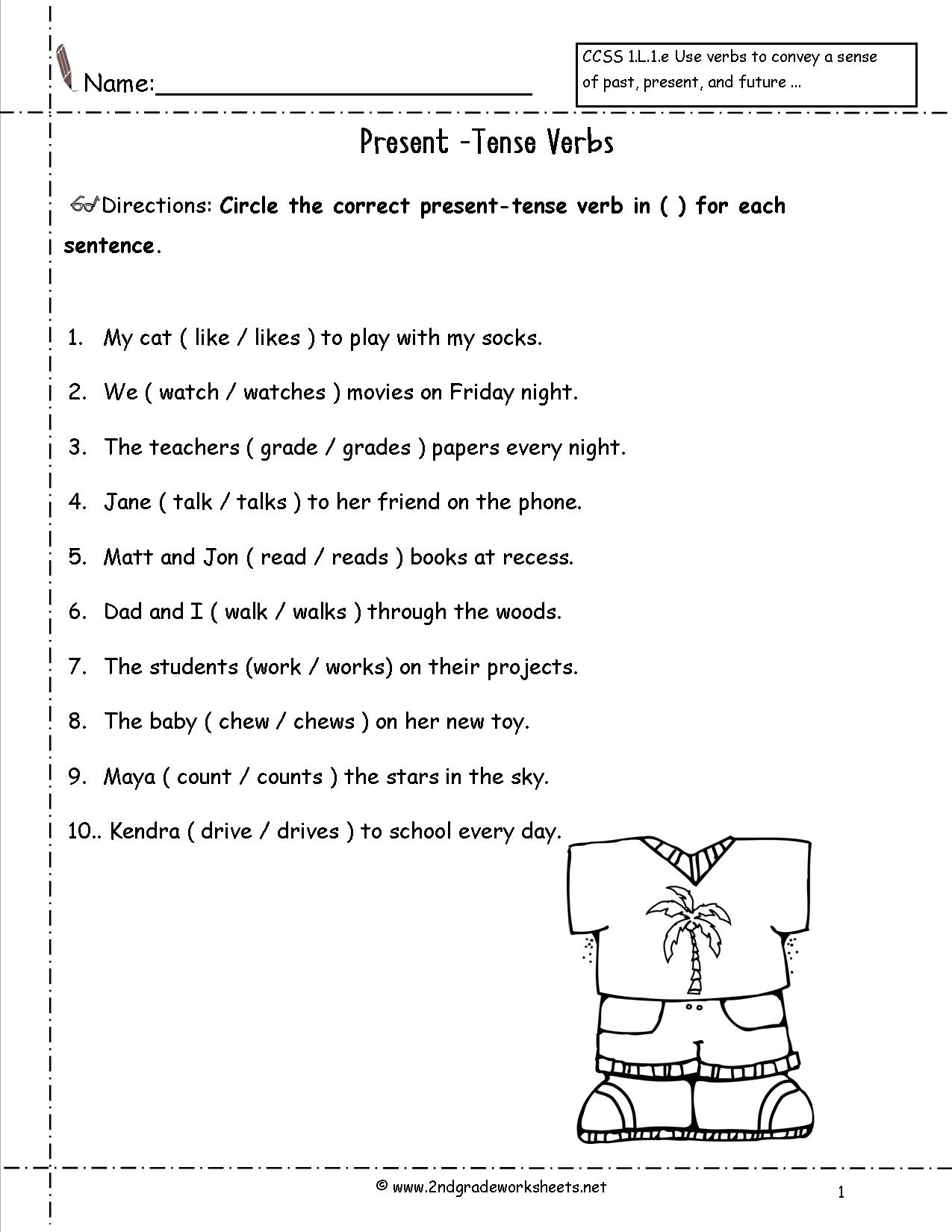 2 2nd Grade Past Tense Verbs Worksheets