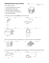 Surface Area Triangular Prism Worksheet
