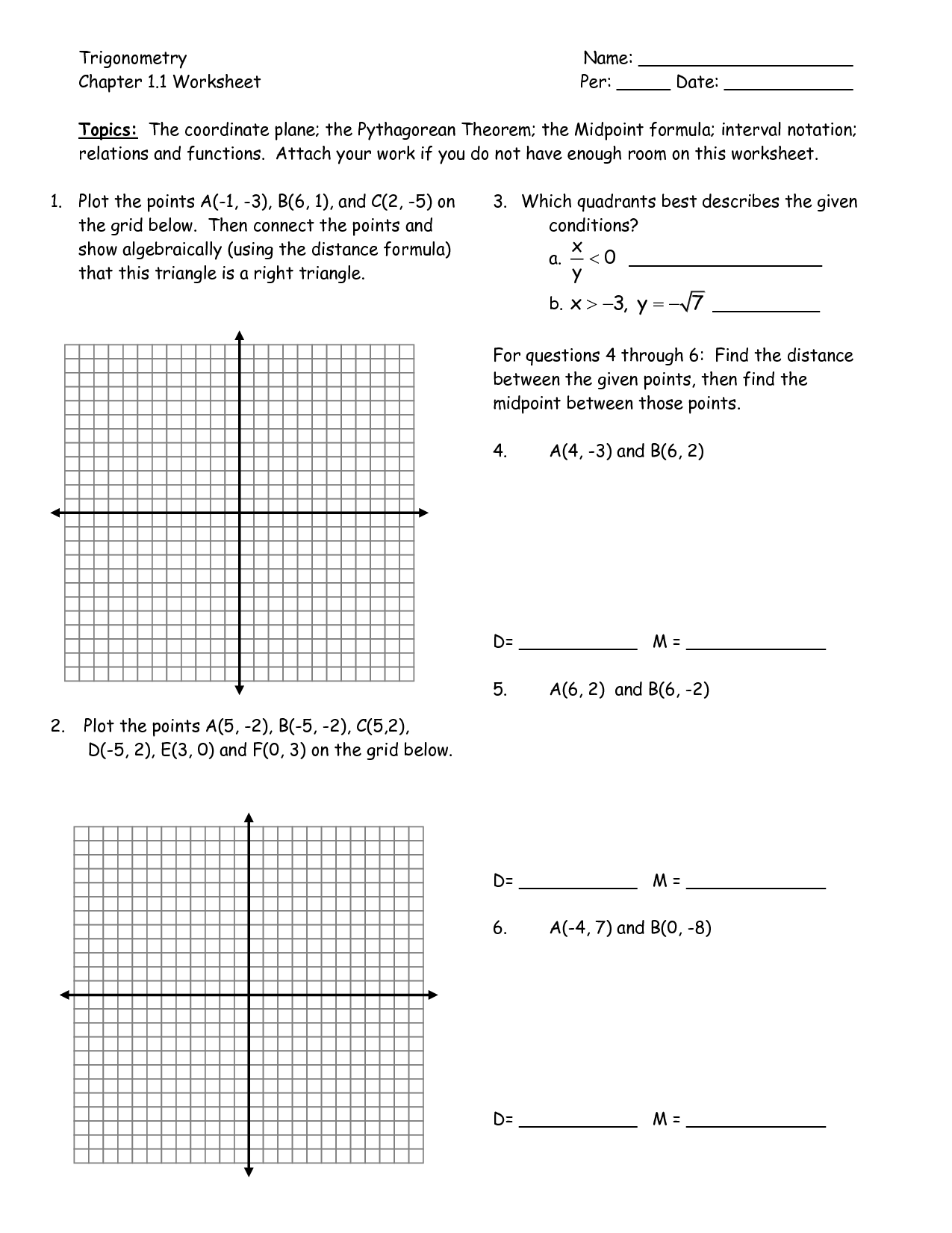 Graphing Linear Equations Worksheet 6th Grade