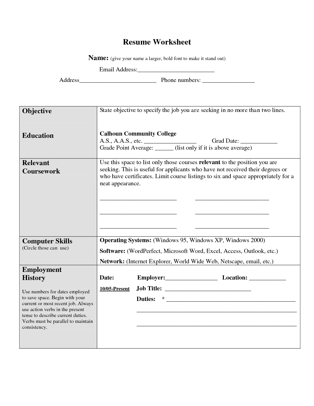 worksheet. Resume Worksheet For High School Students ...