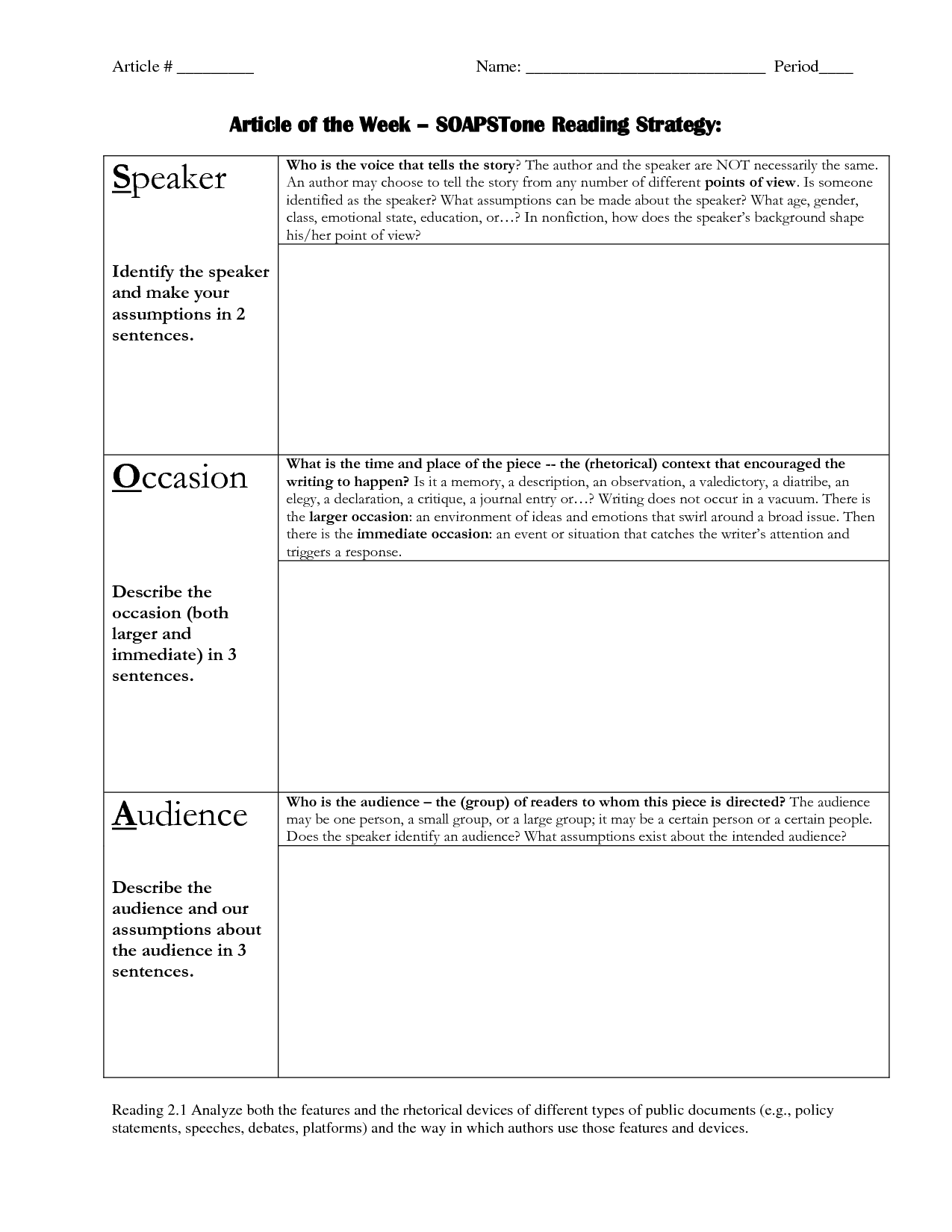 Soapstone Worksheet Ap
