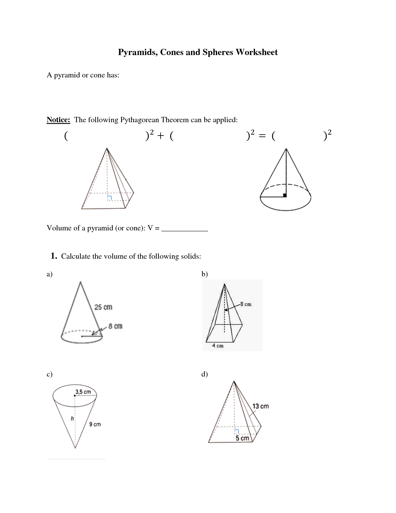 Worksheet Volume Of Pyramids Worksheet Grass Fedjp