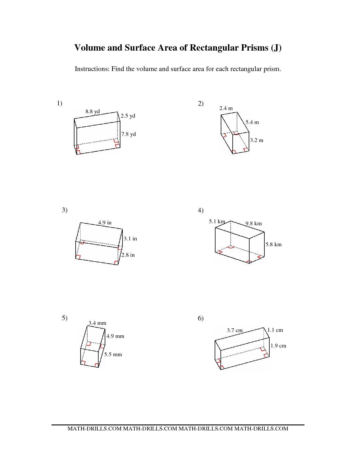 Worksheets Surface Area Of Rectangular Prism Worksheet