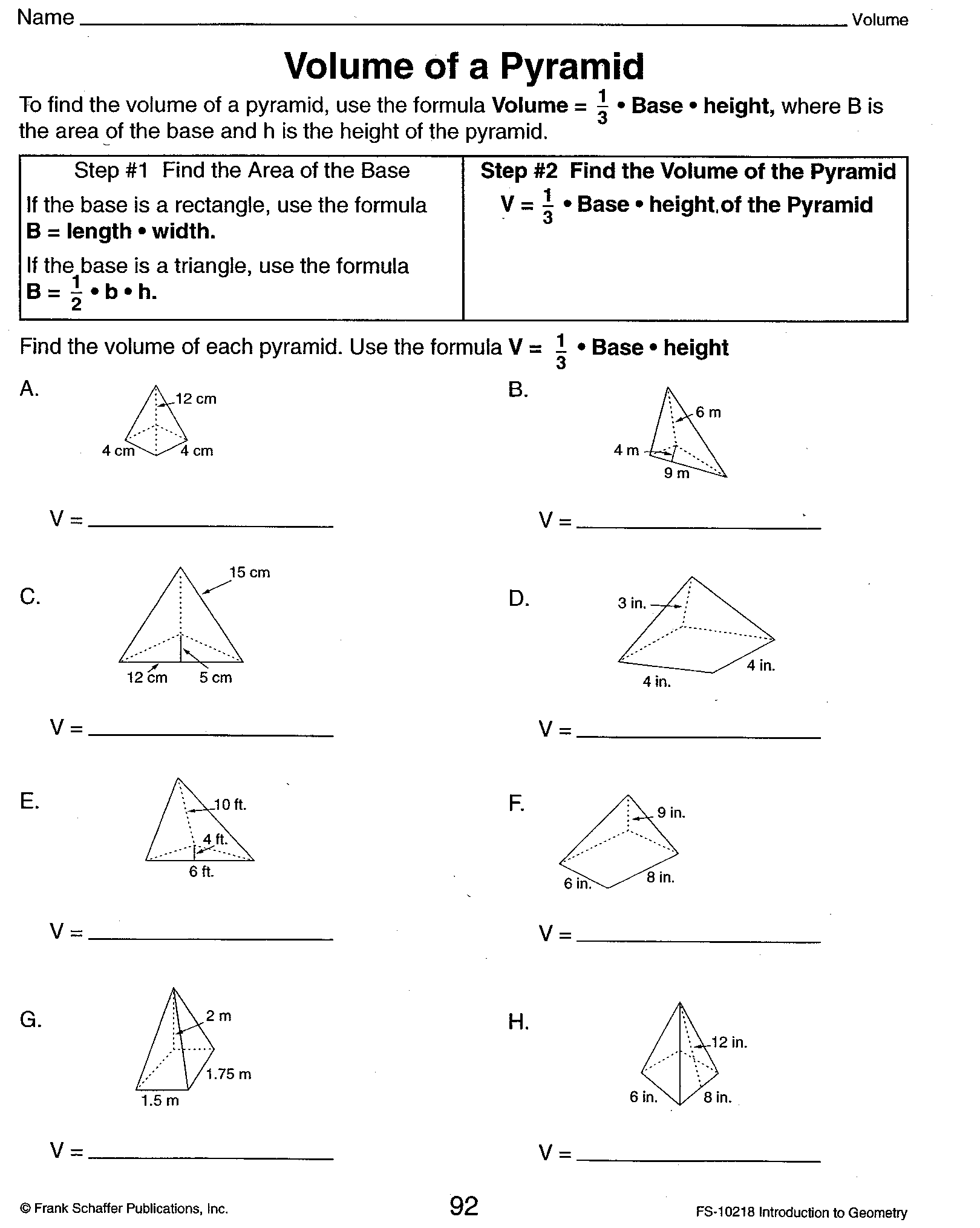 Worksheet Volume Of A Pyramid