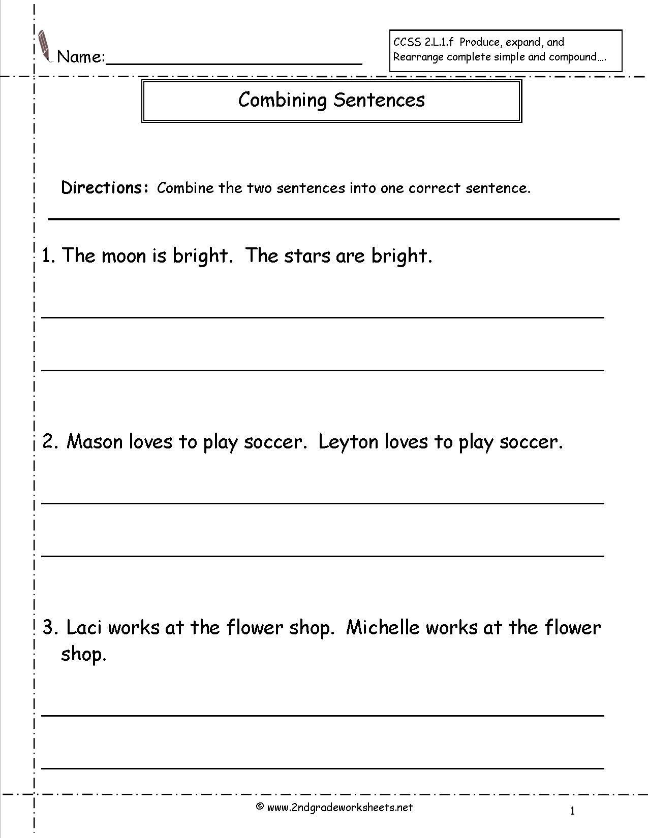 18 Best Images Of Combining Sentences Worksheets 3rd Grade