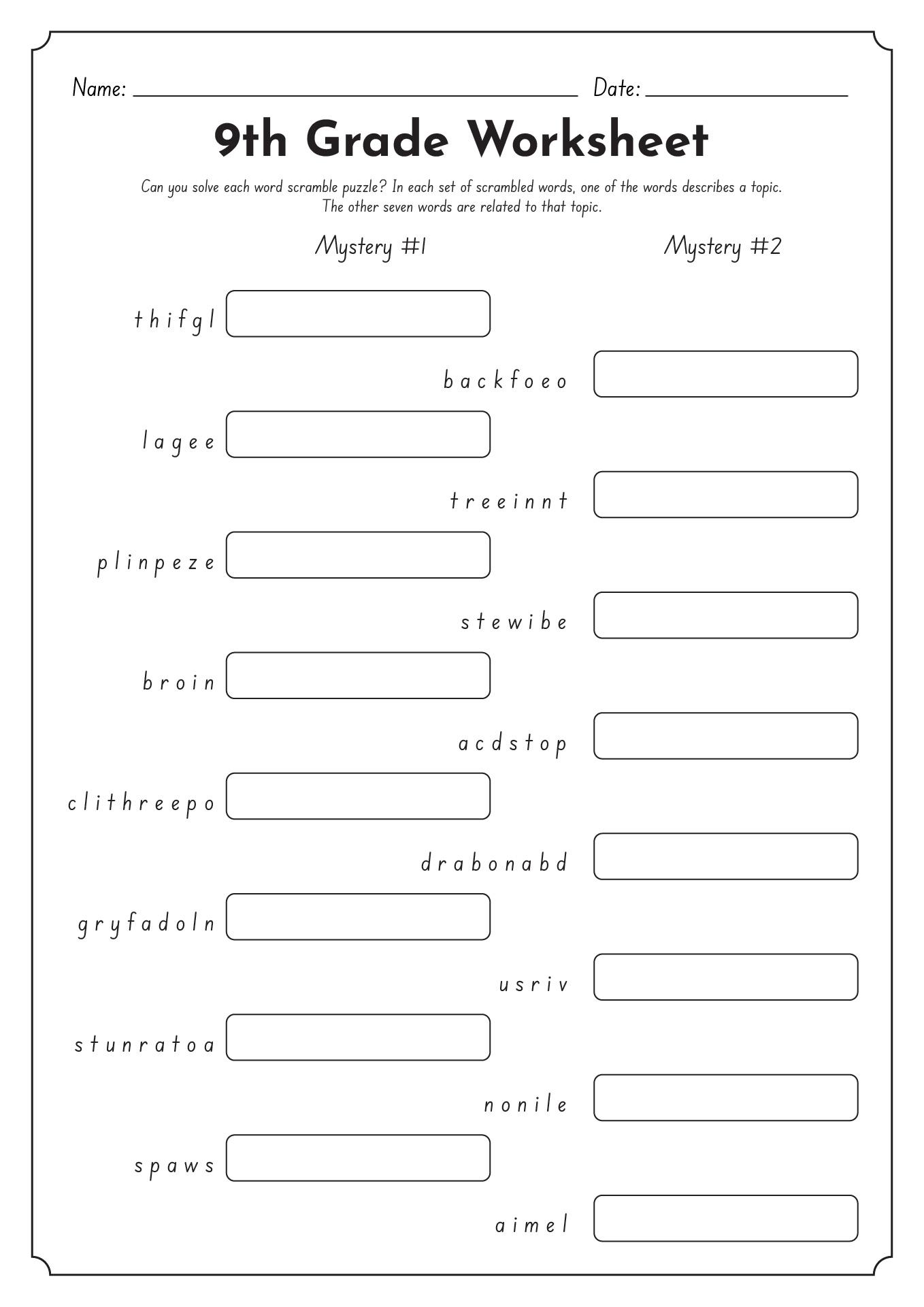 Language Worksheet Category Page 1