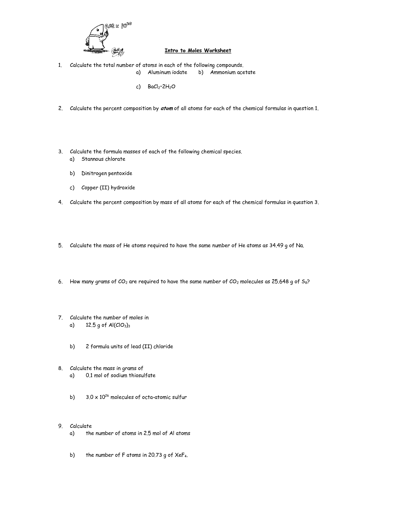13 Best Images Of Chemistry Mole Worksheet