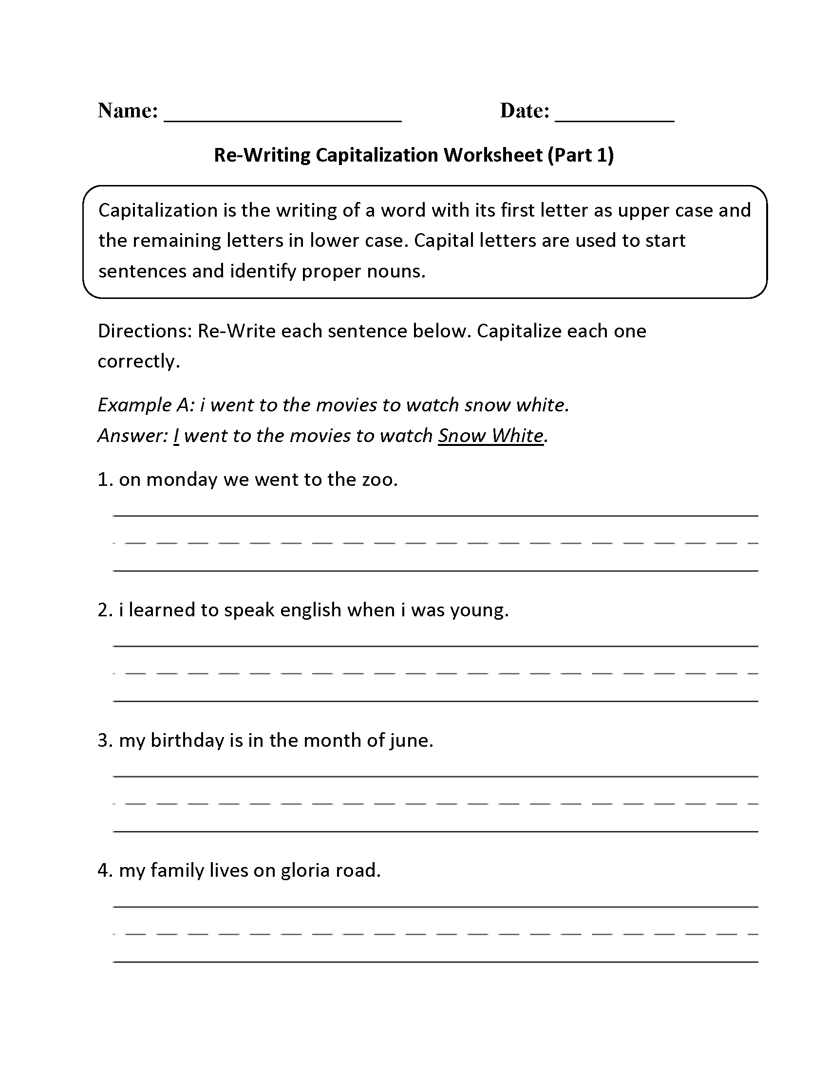 18 Best Images Of Capitalization Worksheets For