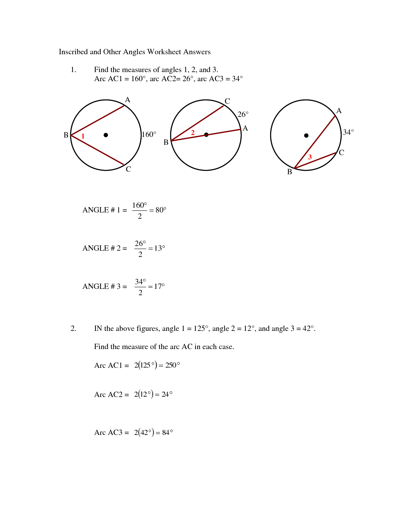 Area Of A Circle Worksheet With Answers