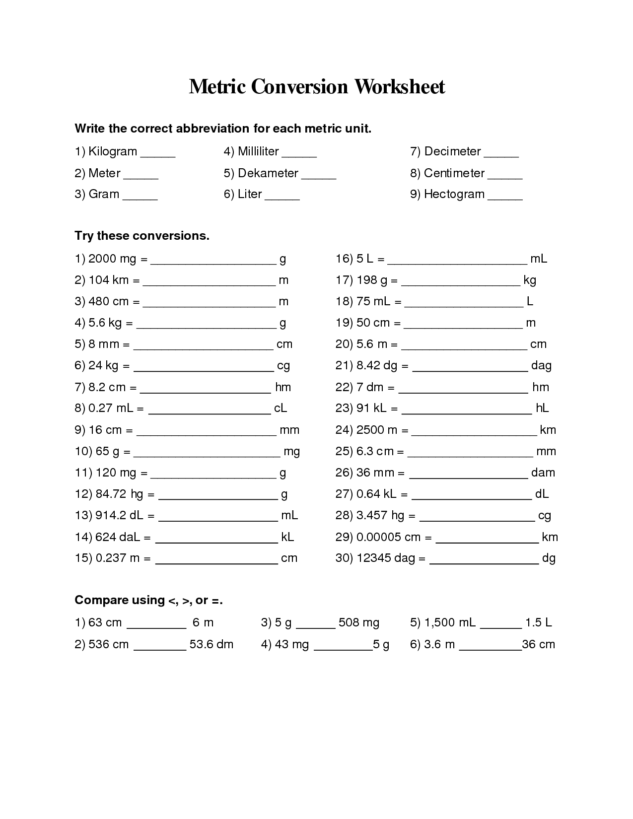 hight resolution of Metric Measurement Worksheets 4th Grade   Printable Worksheets and  Activities for Teachers
