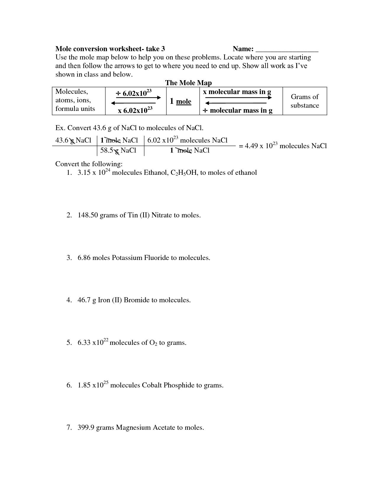 Mole Ratio Worksheet Chemistry Answers