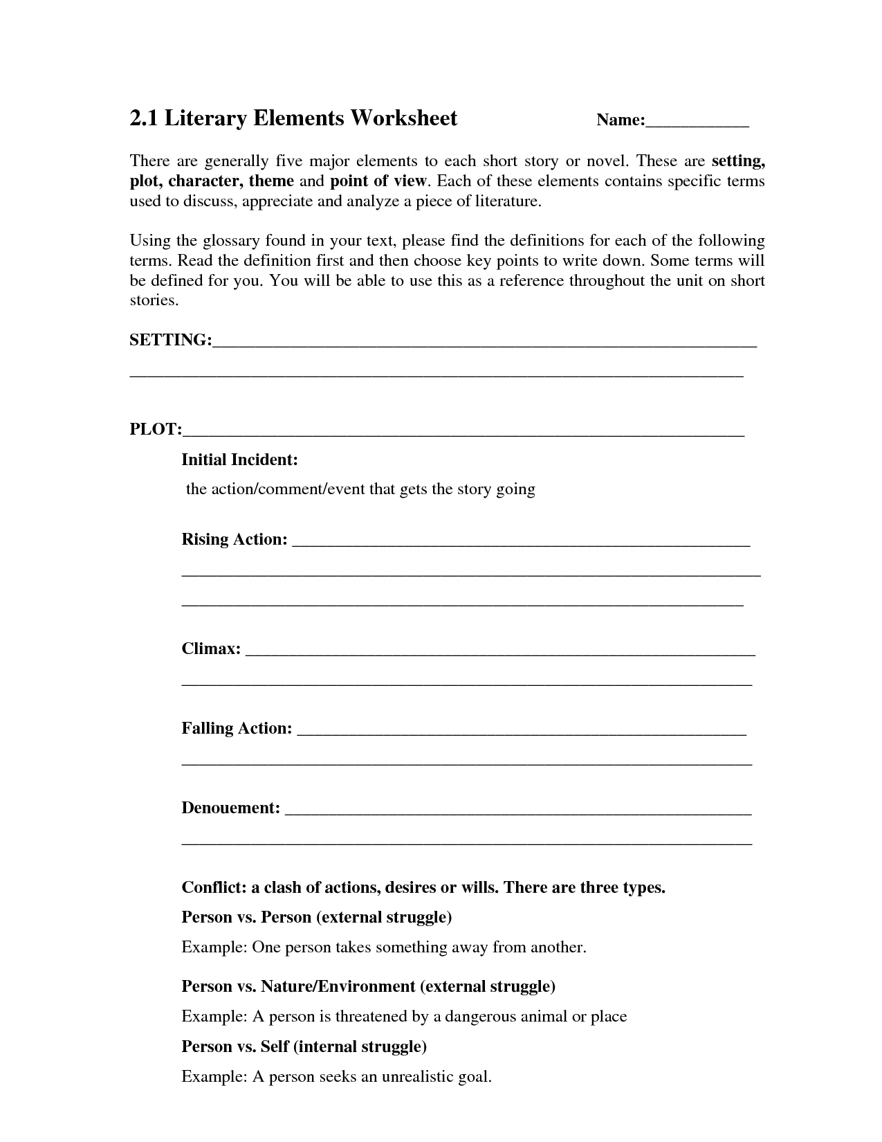10 Best Images Of Short Story Elements Worksheet