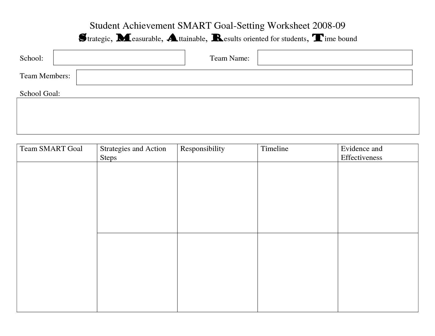 17 Best Images Of Academic Goal Setting Worksheet