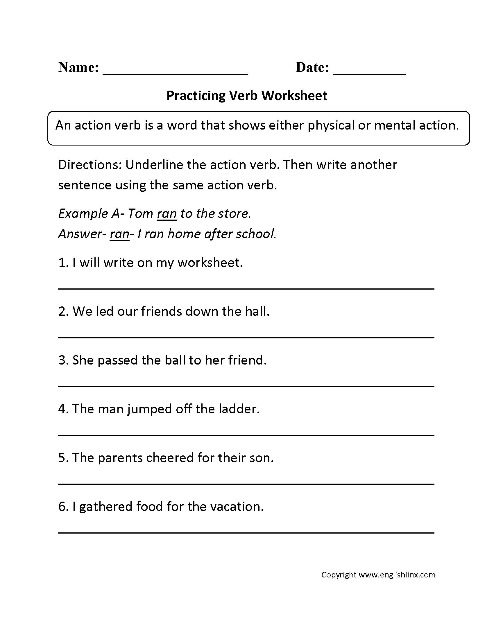 Verb Worksheets For Grade 3