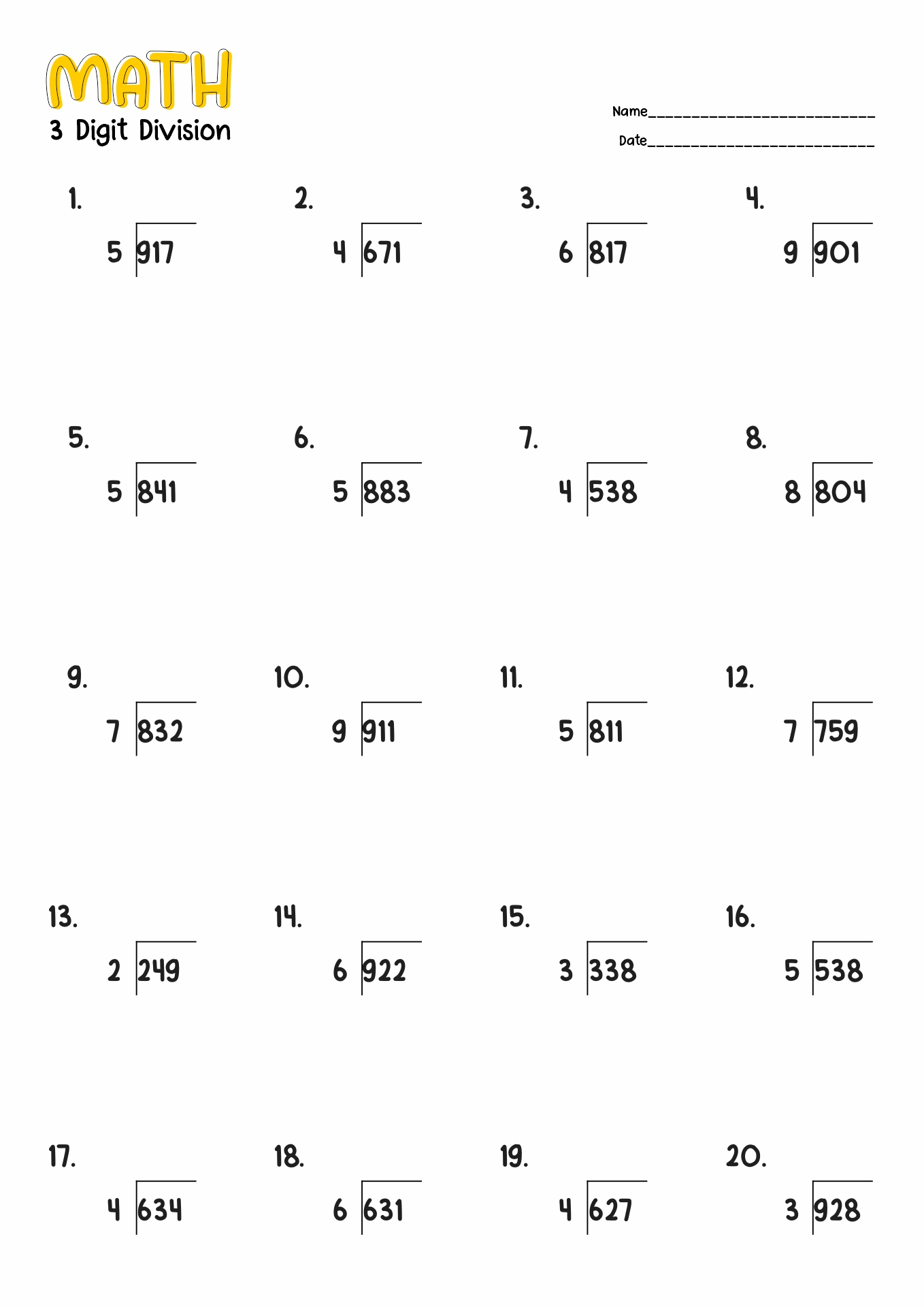 hight resolution of Division Worksheet 4th Grade No Remainders   Printable Worksheets and  Activities for Teachers