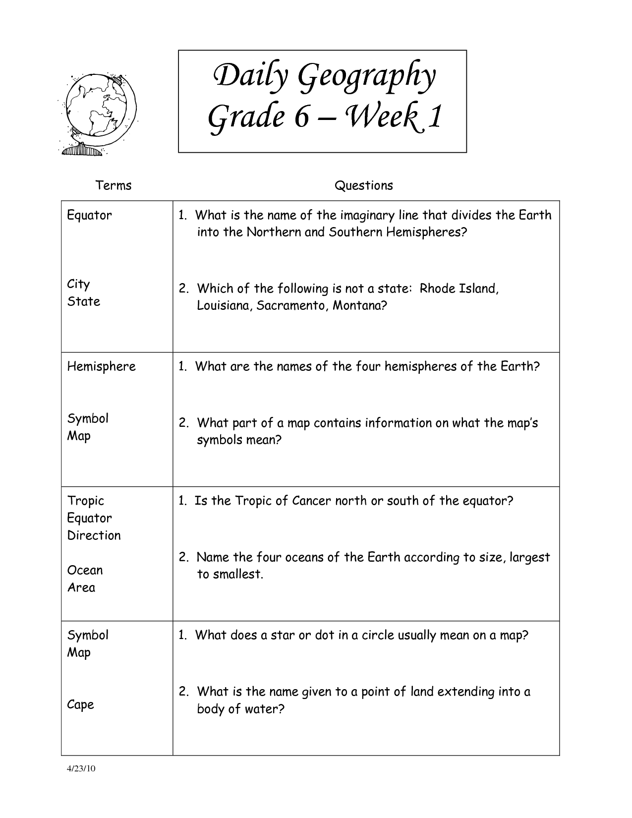 7th Grade Social Stu S Worksheets With Answer Key