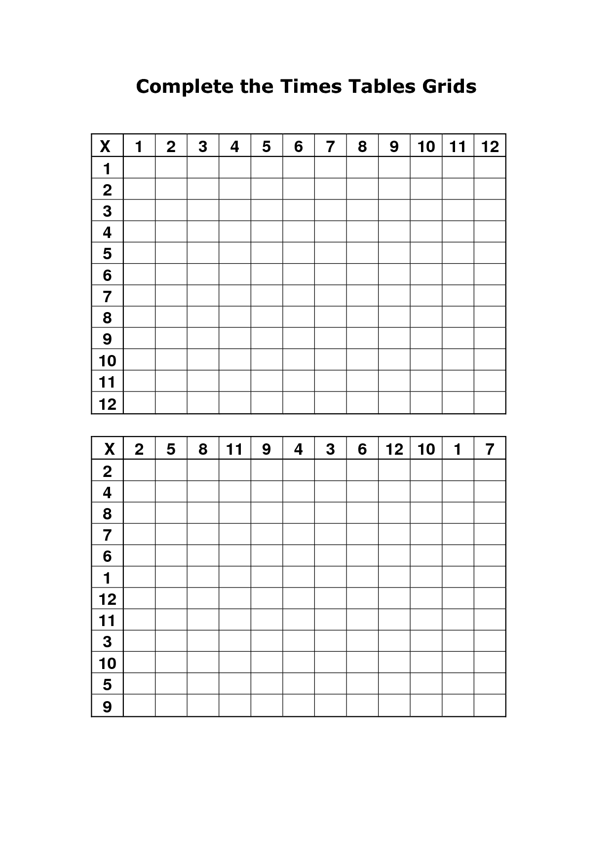 Times Tables Grid Printable