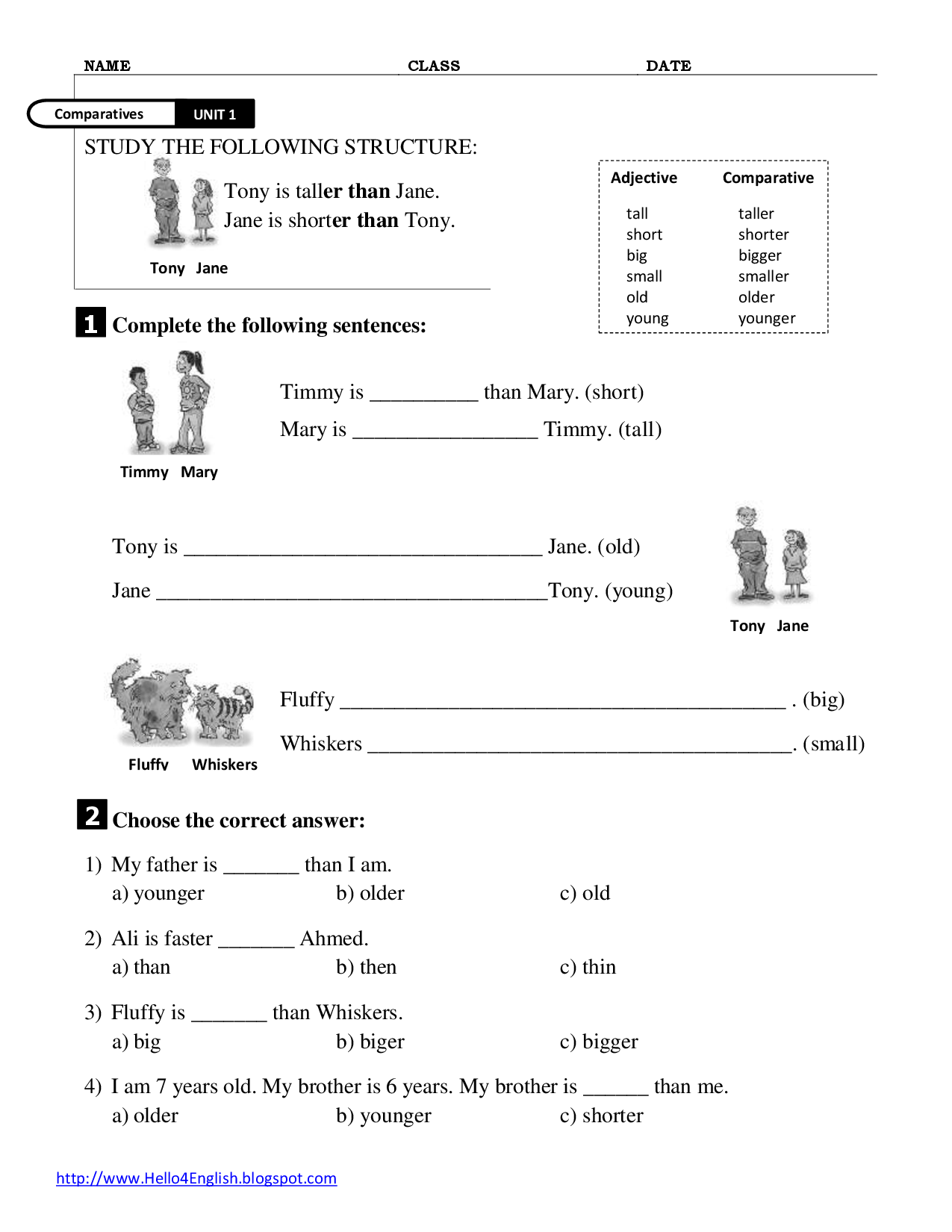 Comparatives And Superlatives Worksheet Ks2