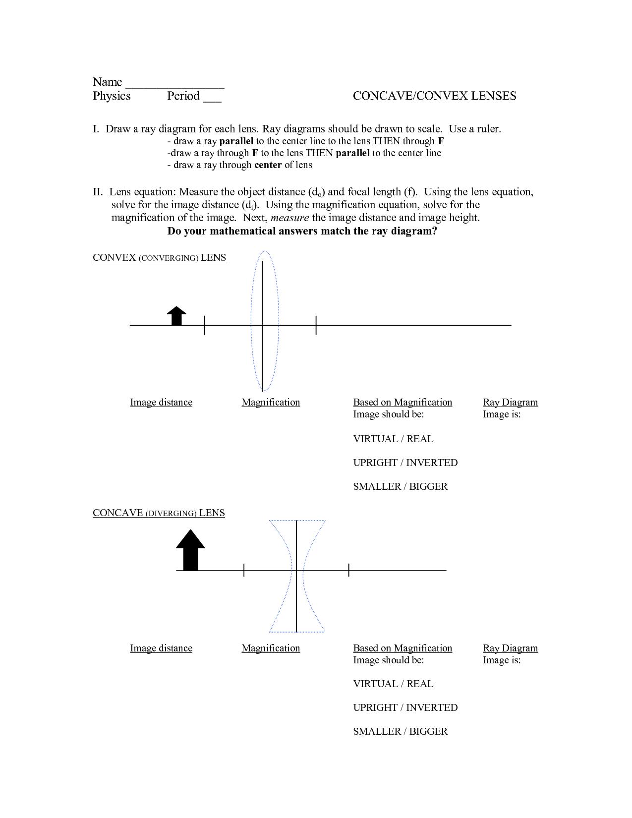 light ray diagram worksheets 95 honda civic engine 10 best images of convex lenses practice worksheet key