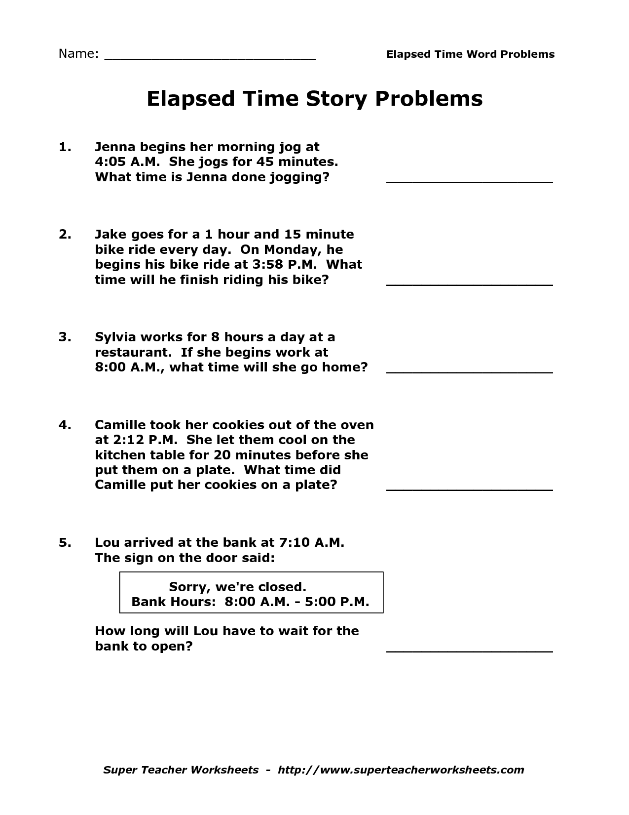15 Best Images Of 3rd Grade Elapsed Time Word Problems Worksheets