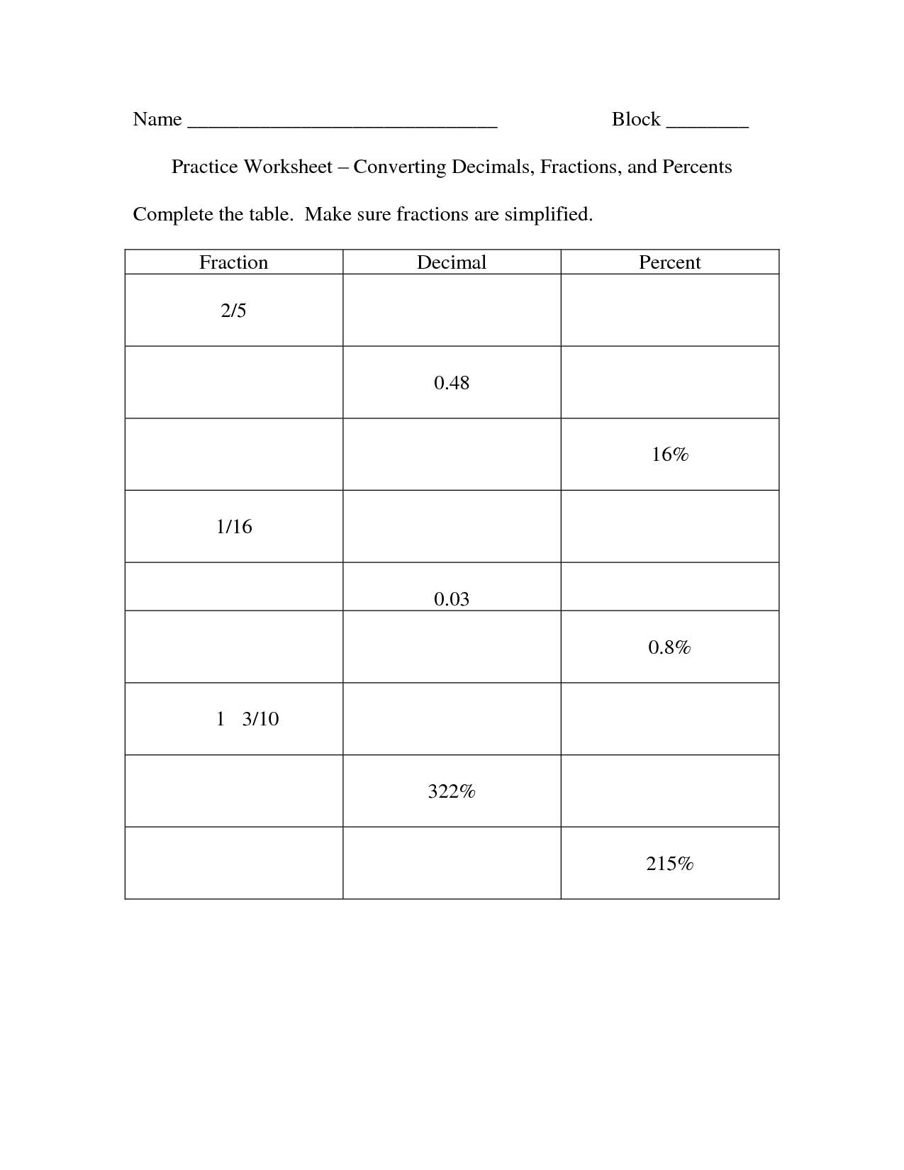 Super Teacher Worksheets Converting Decimals To Fractions