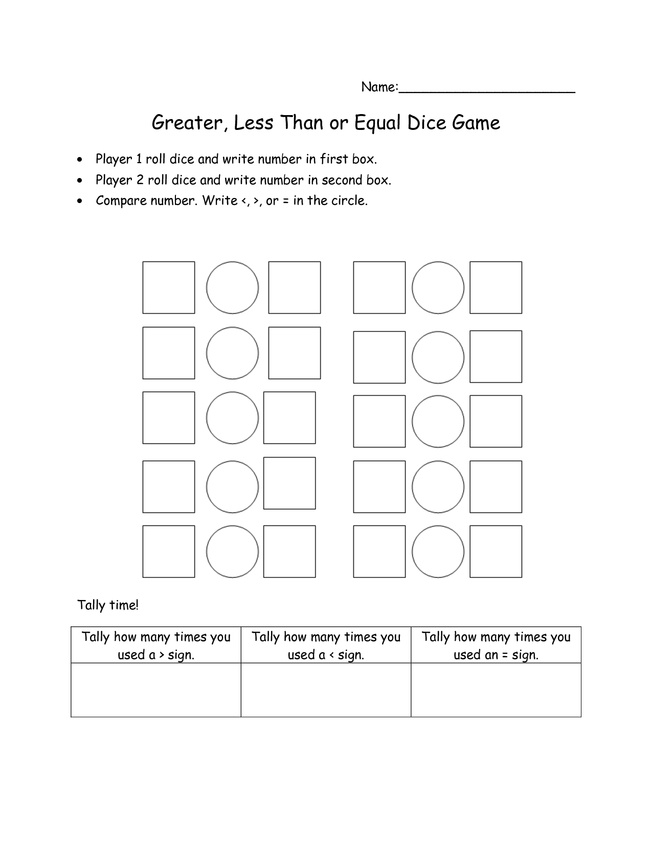 16 Best Images Of Greater Less Than Worksheets First Grade
