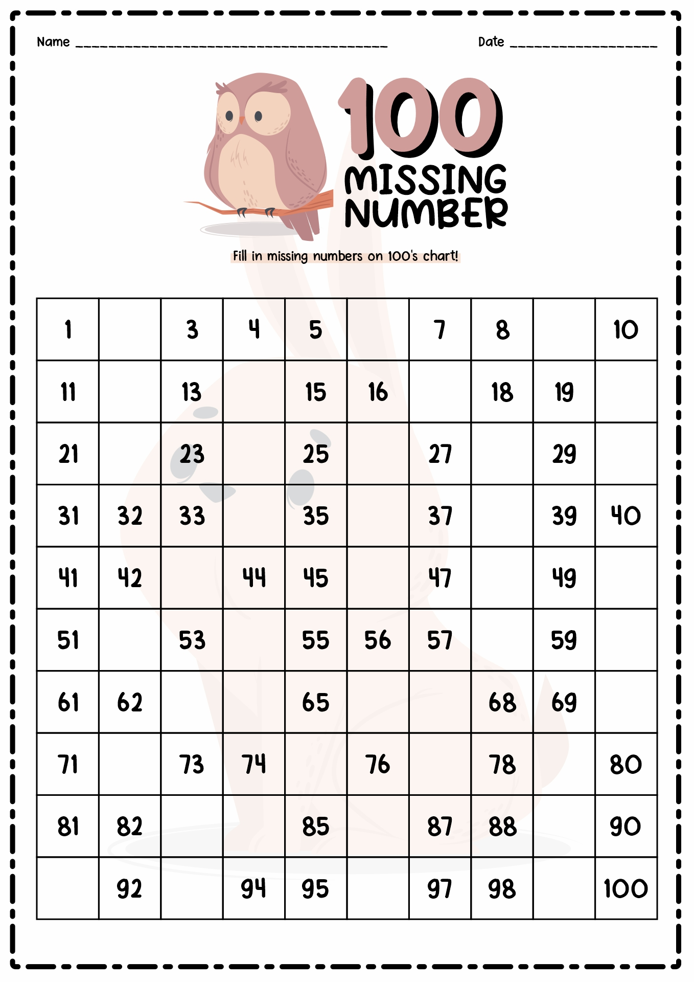 Missing Hundreds Square Worksheet