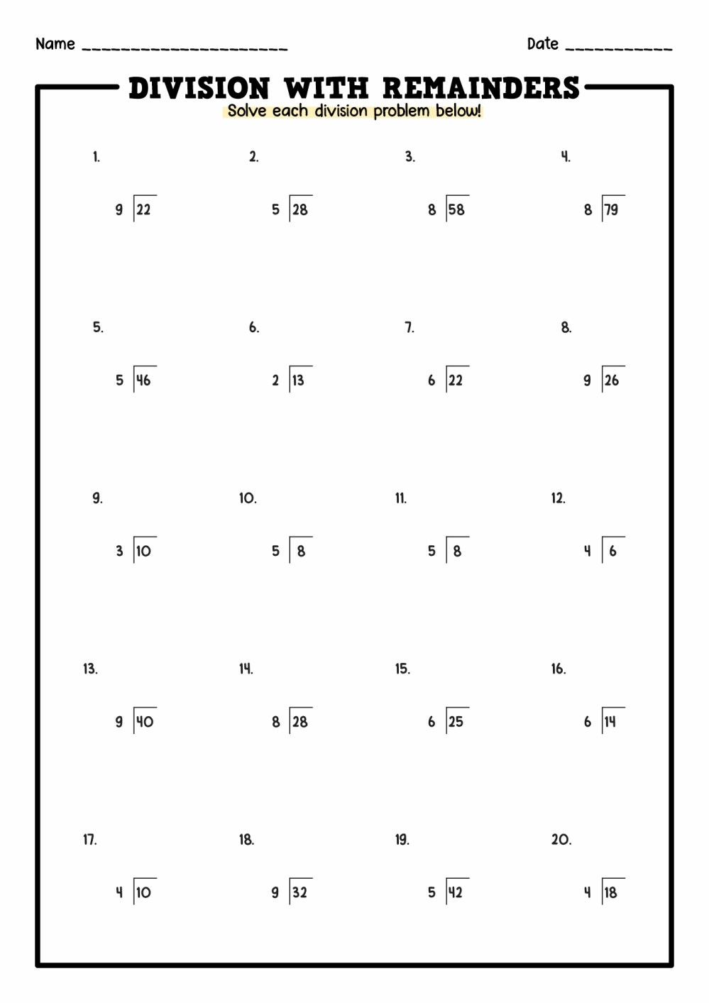 medium resolution of Division Problem Solving Worksheets   Printable Worksheets and Activities  for Teachers