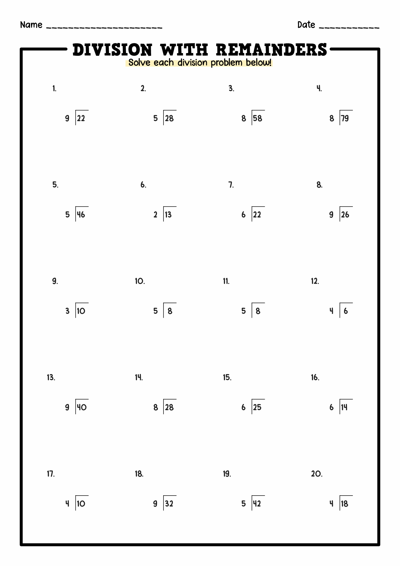 hight resolution of Division Problem Solving Worksheets   Printable Worksheets and Activities  for Teachers