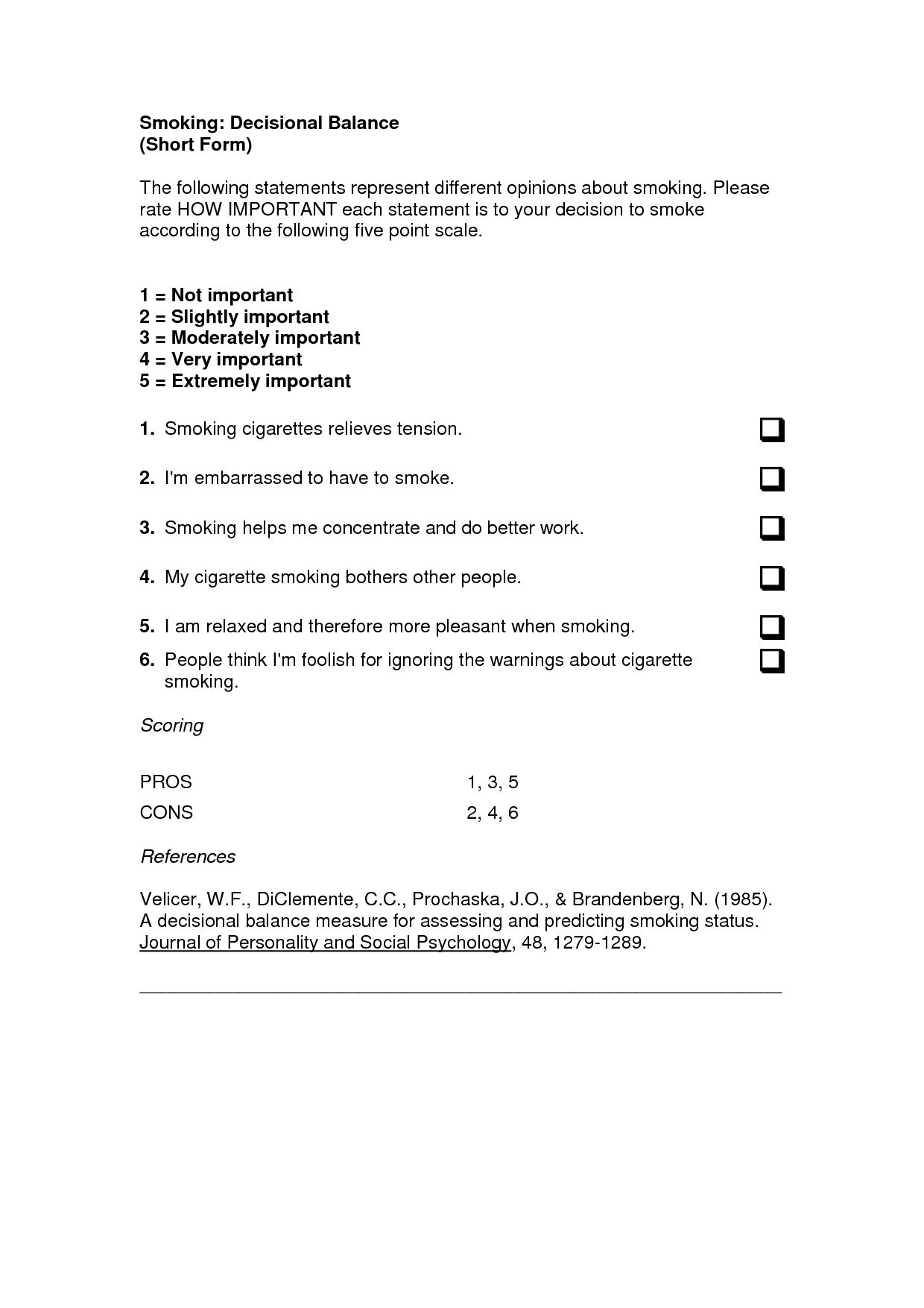 Motivational Interviewing Substance Worksheet