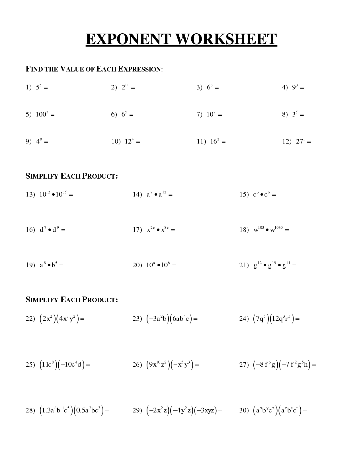 Algebra Worksheet Negative Numbers