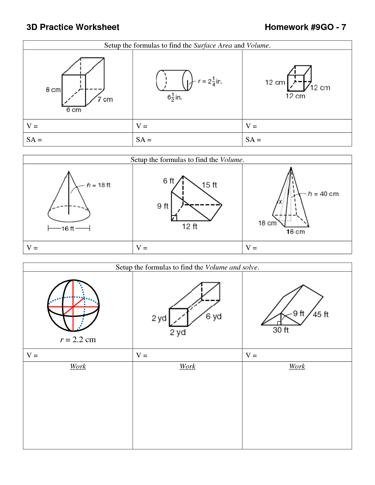 14 Best Images Of Volume Of Shapes Worksheets