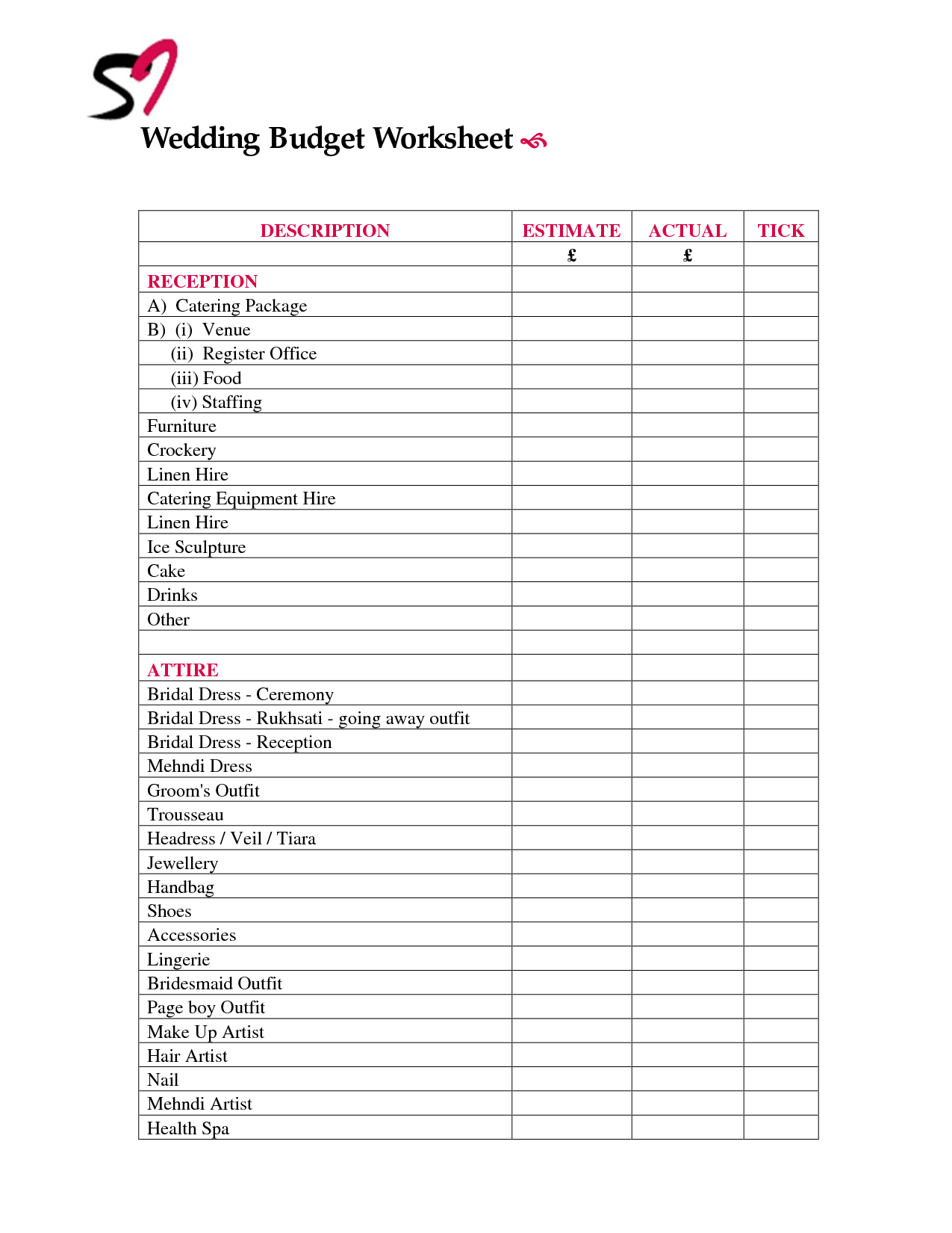 14 Best Images Of Wedding Reception Worksheet