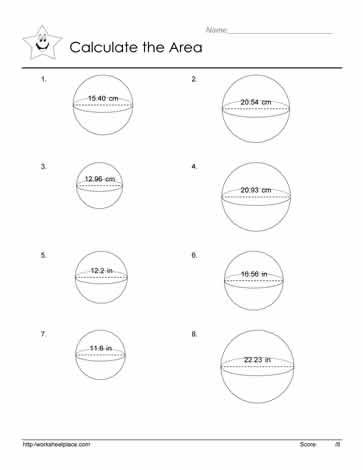 Area of a Sphere Worksheets