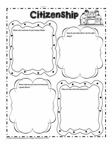 Citizenship Worksheet for Character Worksheets