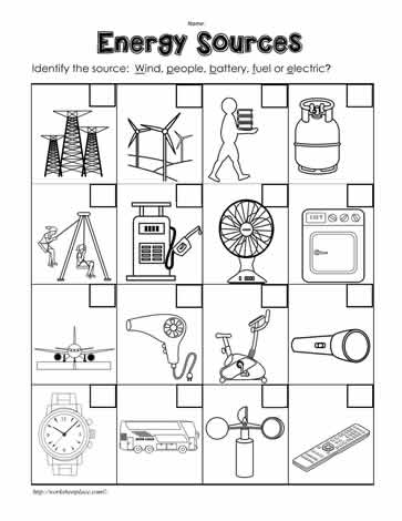 Where Does the Energy Come From? Worksheets