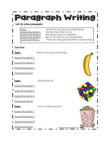 Worksheetplace.com: Paragraph Writing Lesson