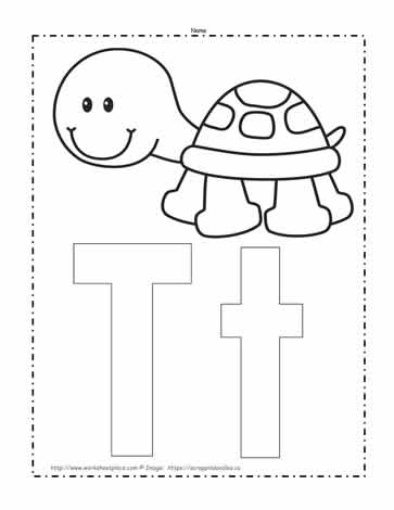 The Letter T Coloring Page Worksheets
