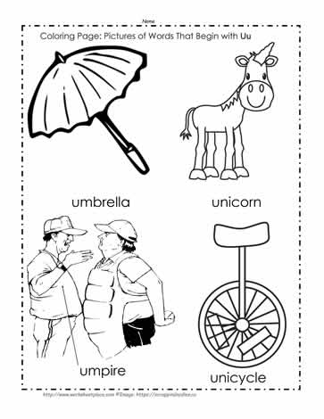 The Letter U Coloring Pictures Worksheets