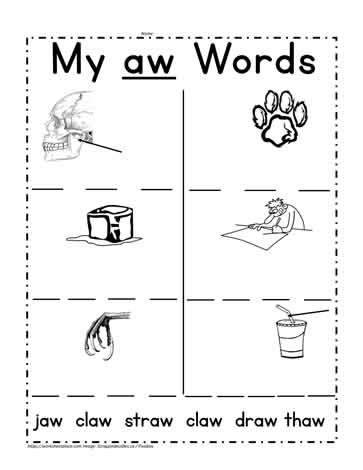 aw Word Family Printable Worksheets