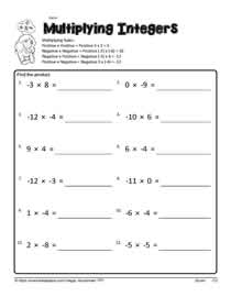 Multiplying Integers Worksheet With Answer Key