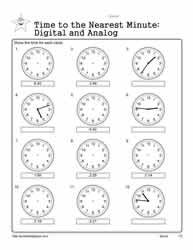 Telling-Time-To-The-Nearest-Minute Worksheets