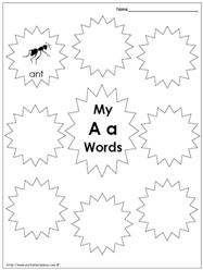 My Alphabet Words Worksheets