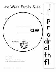 aw Word Family Worksheets