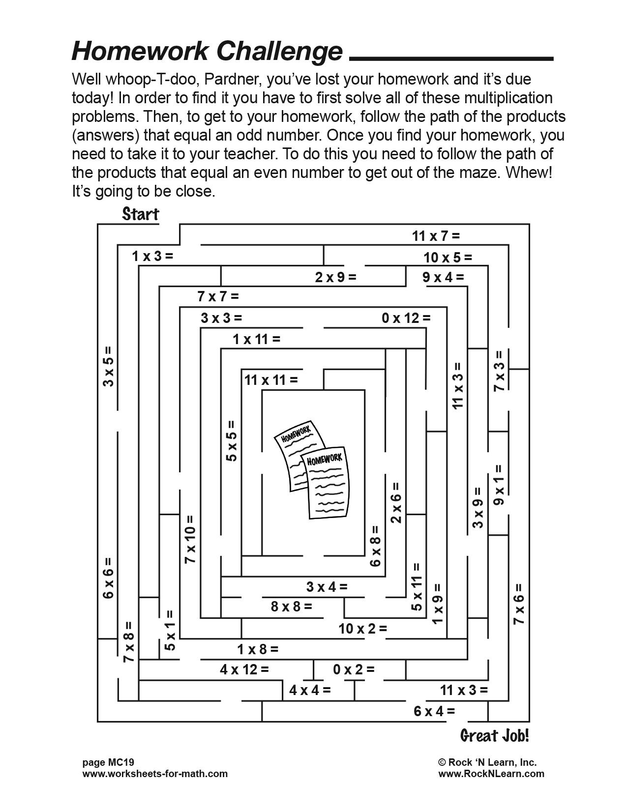 Math Worksheet Mc19