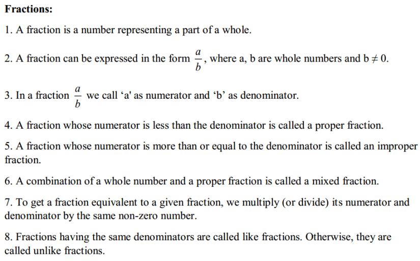 Fractions and Decimals Formulas for Class 7 Q1