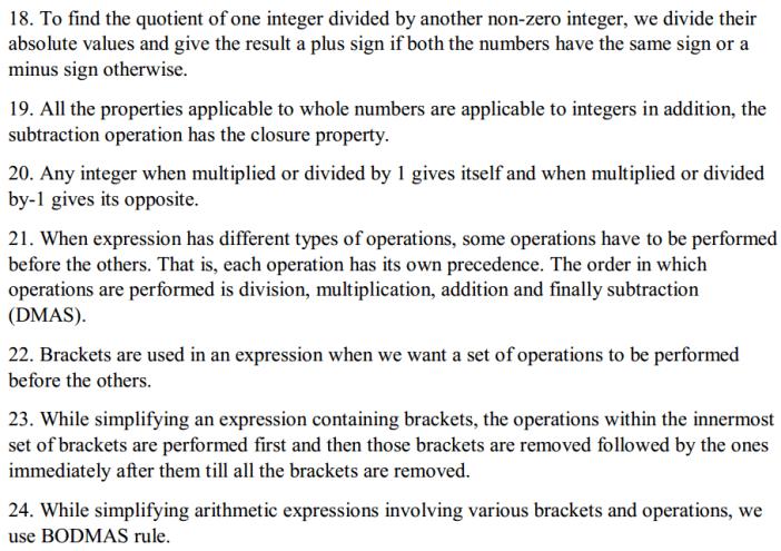 Integers Formulas for Class 7 Q3