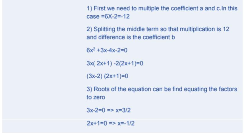 Quadratic Equations Formulas for Class 10 Q3