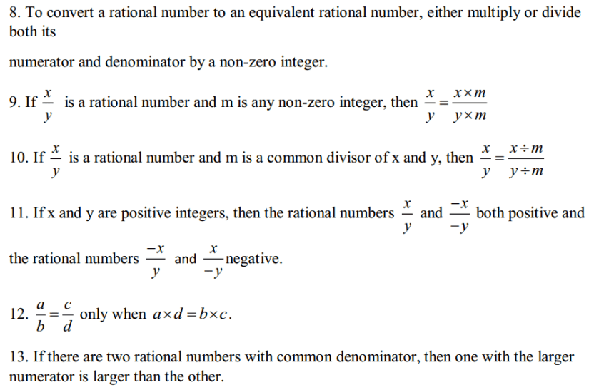 Rational Numbers Formulas for Class 7 Q2